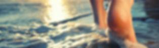 Closeup of a man's bare feet walking at