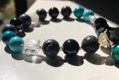 Obsidian, Turquoise, Chrysocolla & Quartz bracelet