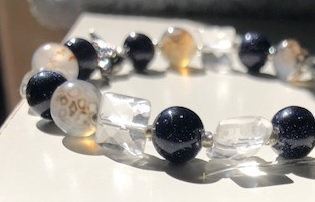 Dragon's Vein Agate, Clear Quartz & Blue Goldstone