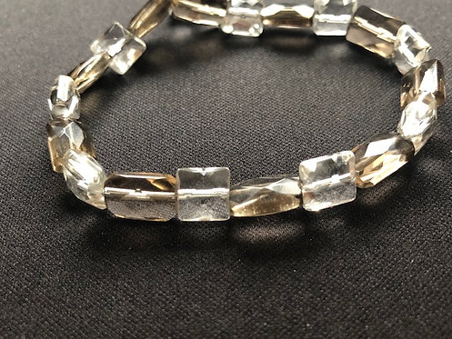 Smokey Quartz & Clear Quartz crystal bracelet