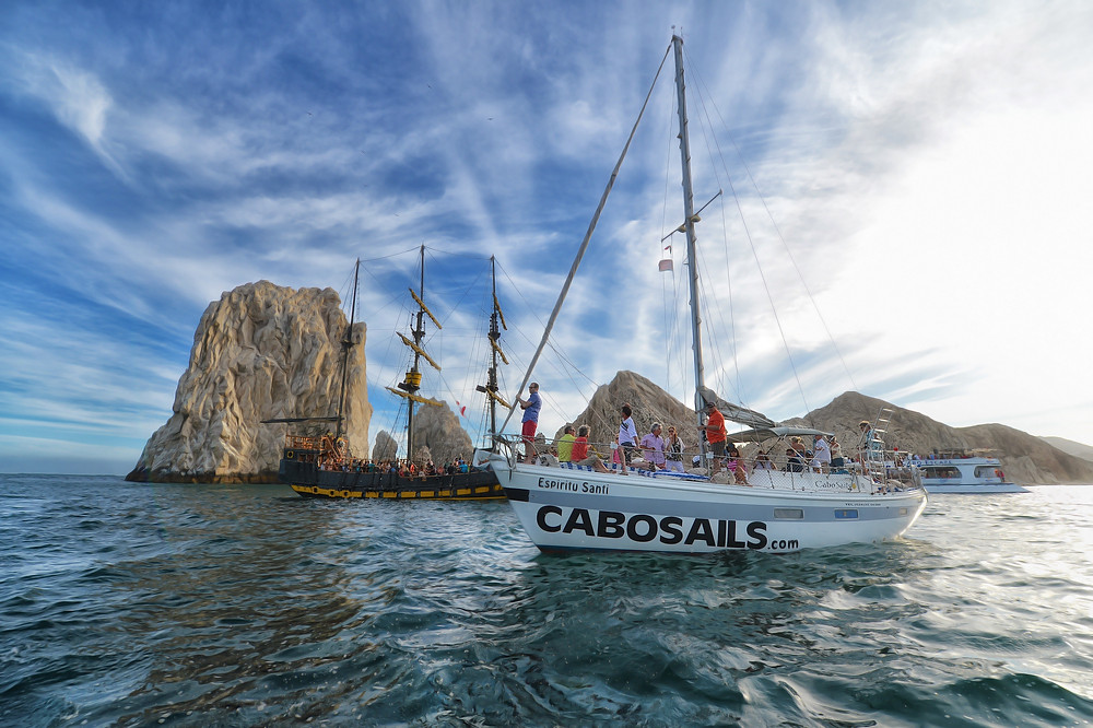 Cabo Sails boat and pirate ship ship at Pelican Rock