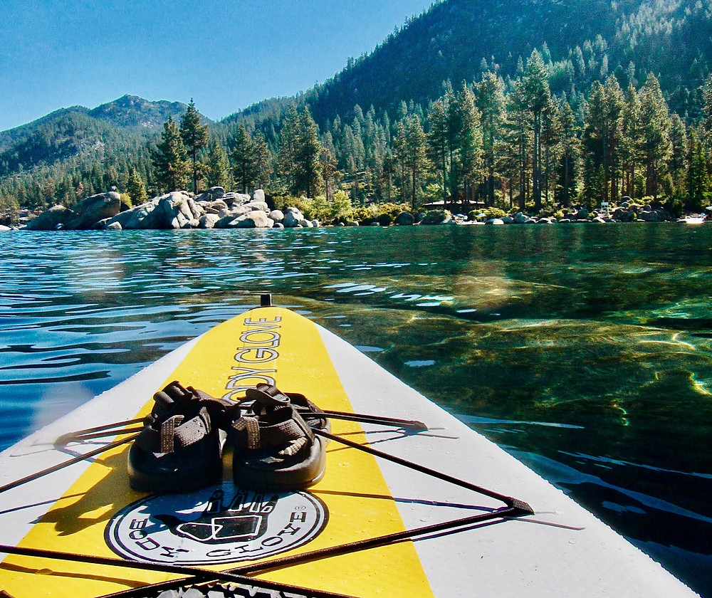 Paddle boarding and kayaking on Lake Tahoe