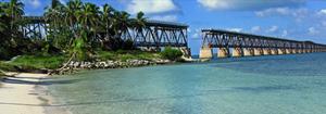 Historic bridge and pristine beach at Bahia Honda State Park and Beach.