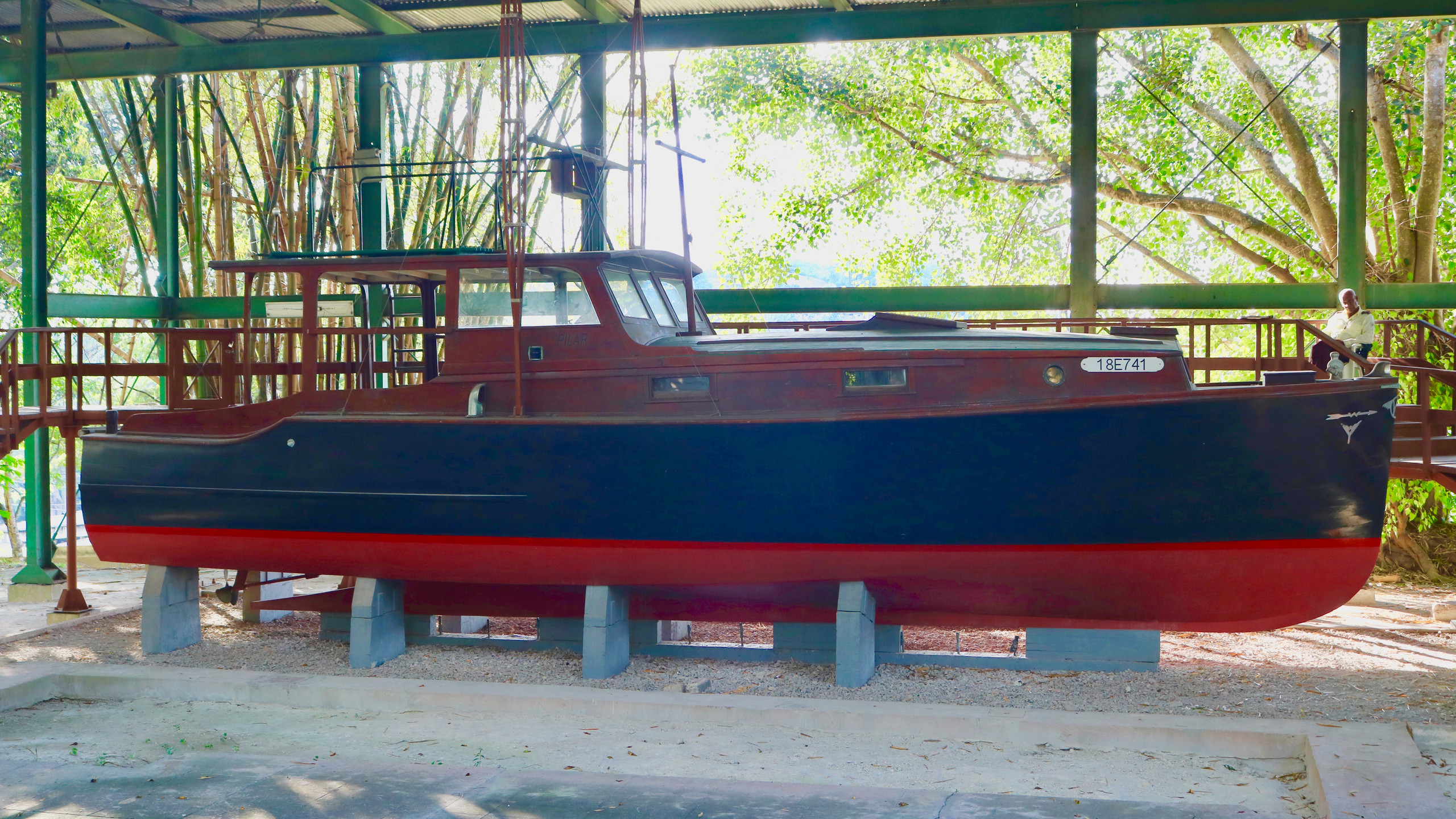 Ernest Hemingway's famous blue and red boat at Finca Vigia in Havana, Cuba.