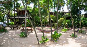 Hammocks in the shady, sandy common area of Bananarama.