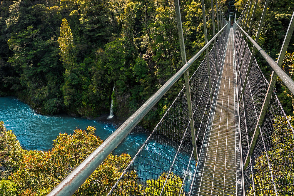 Waiohine Gorge Suspension Bridge in New Zealand.