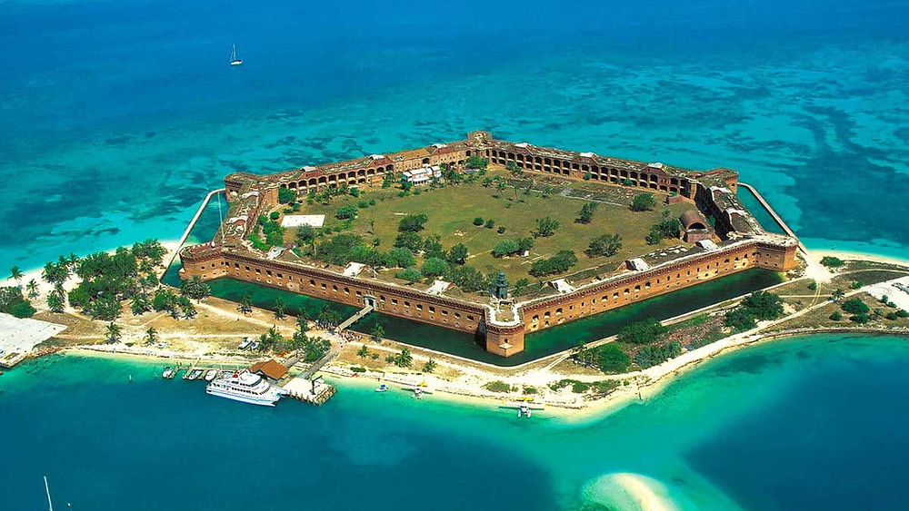 Ariel view of fort at Dry Tortugas National Park