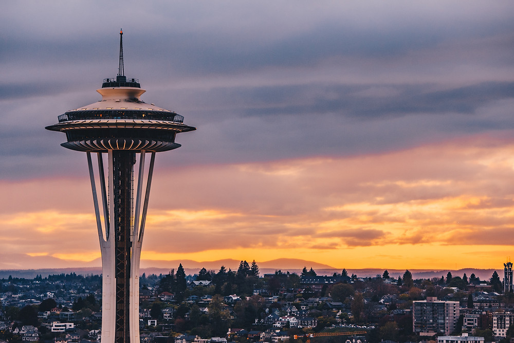 Seattle Space Needle at sunset.