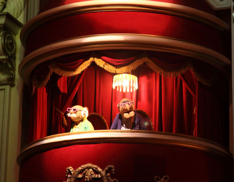 Statler and Waldorf in 3D glasses during Muppet Vision 3D show