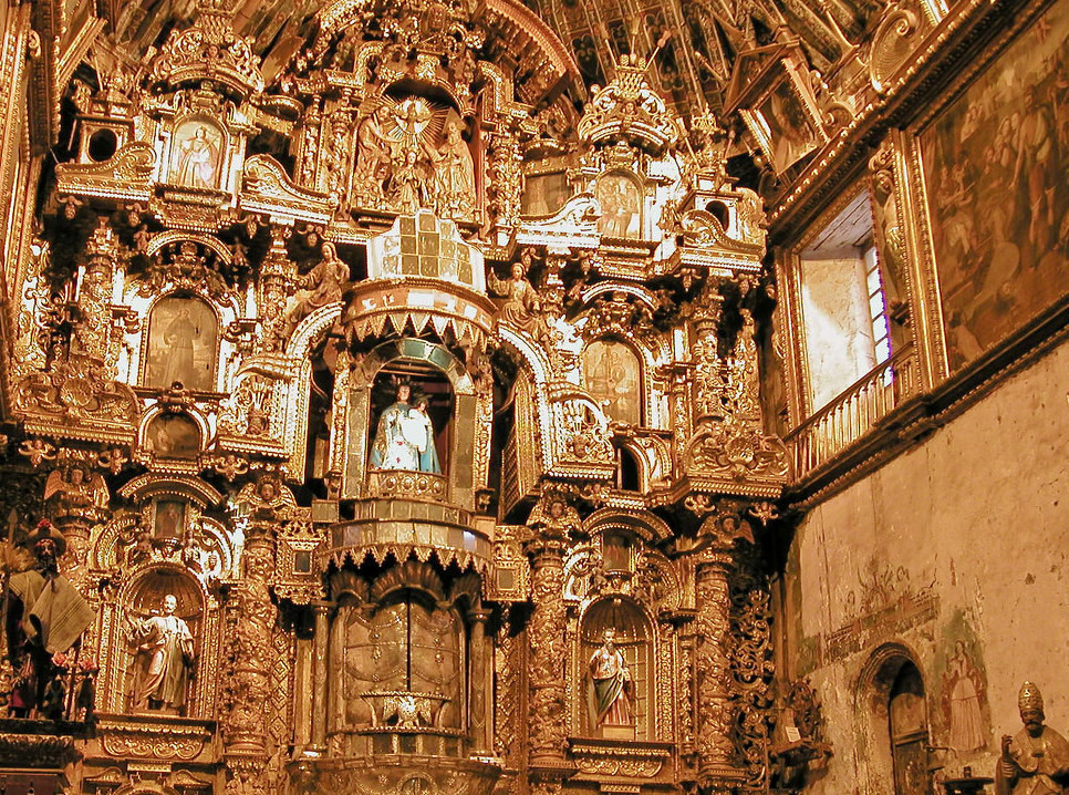 "Gilded interior of ""The Sistine Chapel of the Andes"" in Andahuaylilla, Peru."