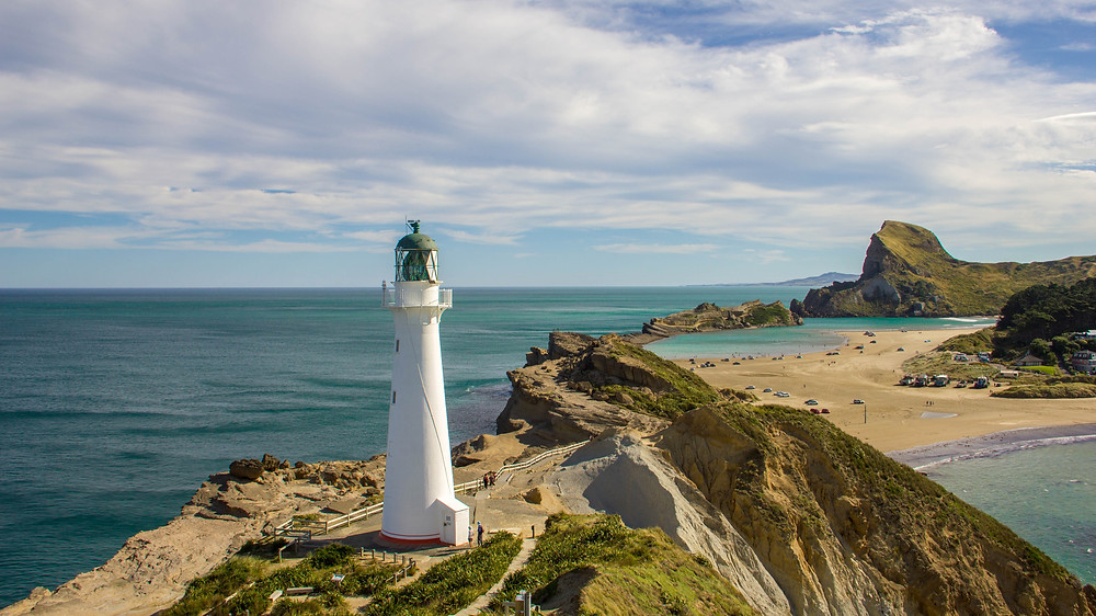 View of New Zealand's Castlepoint Lighthouse from the top of the trail.