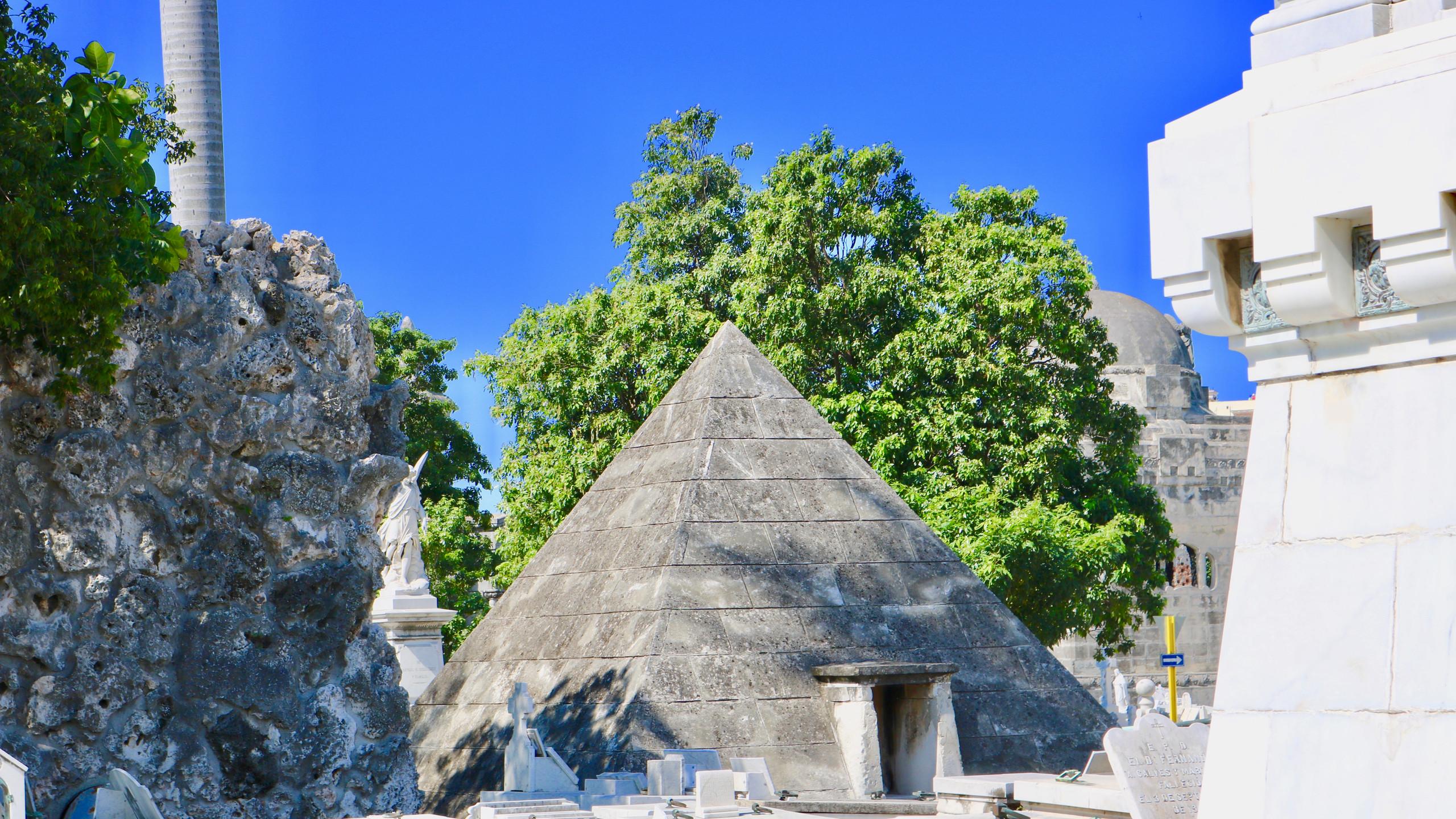 Pyramid shaped mausoleum in Havana, Cuba's Colon Cemetery.