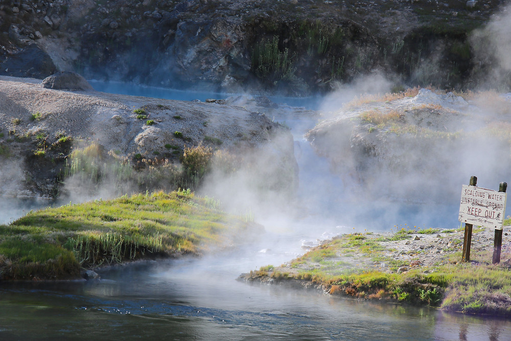 Blue pools of boiling water at Hot Creek near Mammoth Lakes, CA and June Lake.