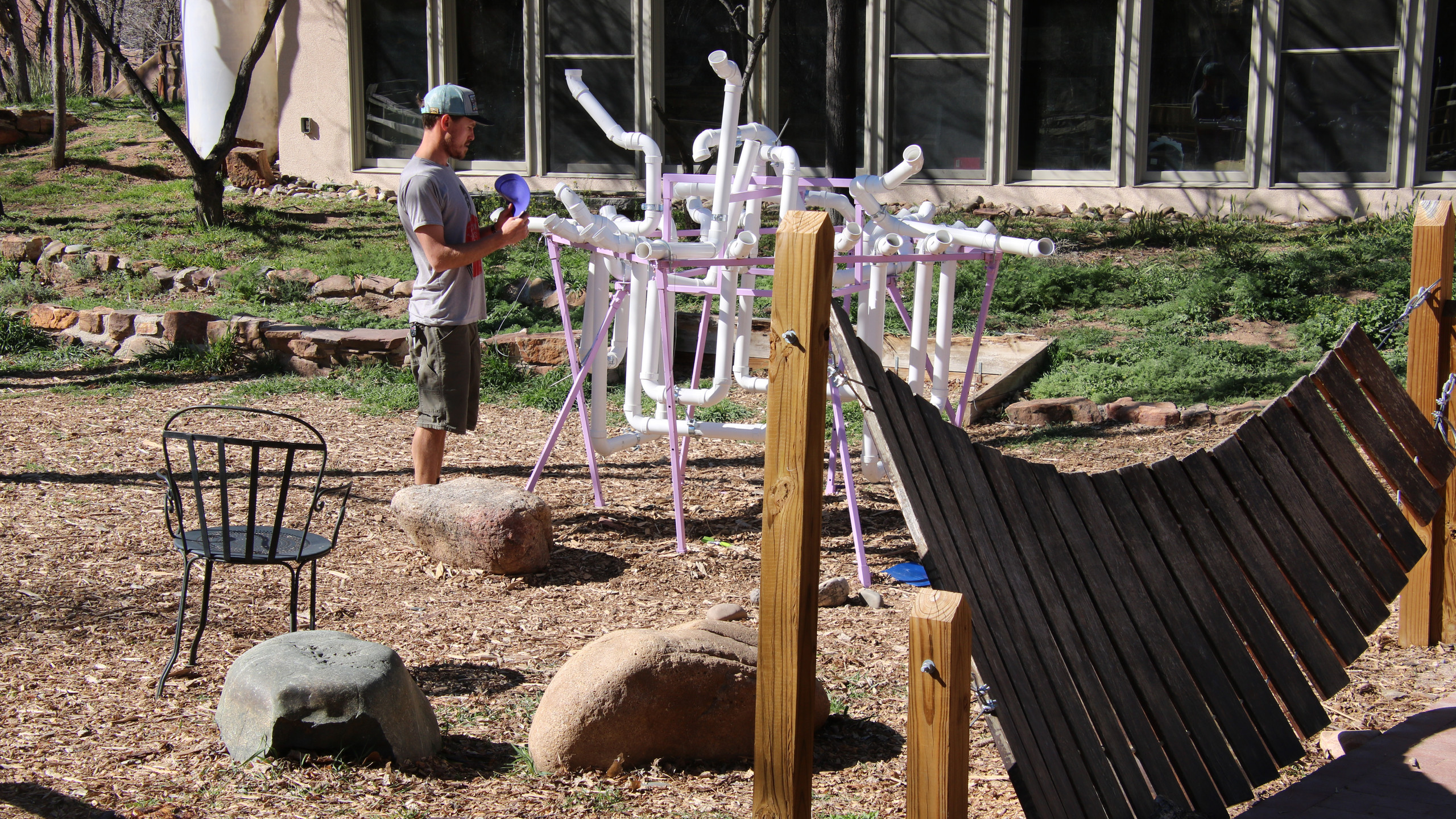 Outdoor music making area at the Santa Fe Children's Museum