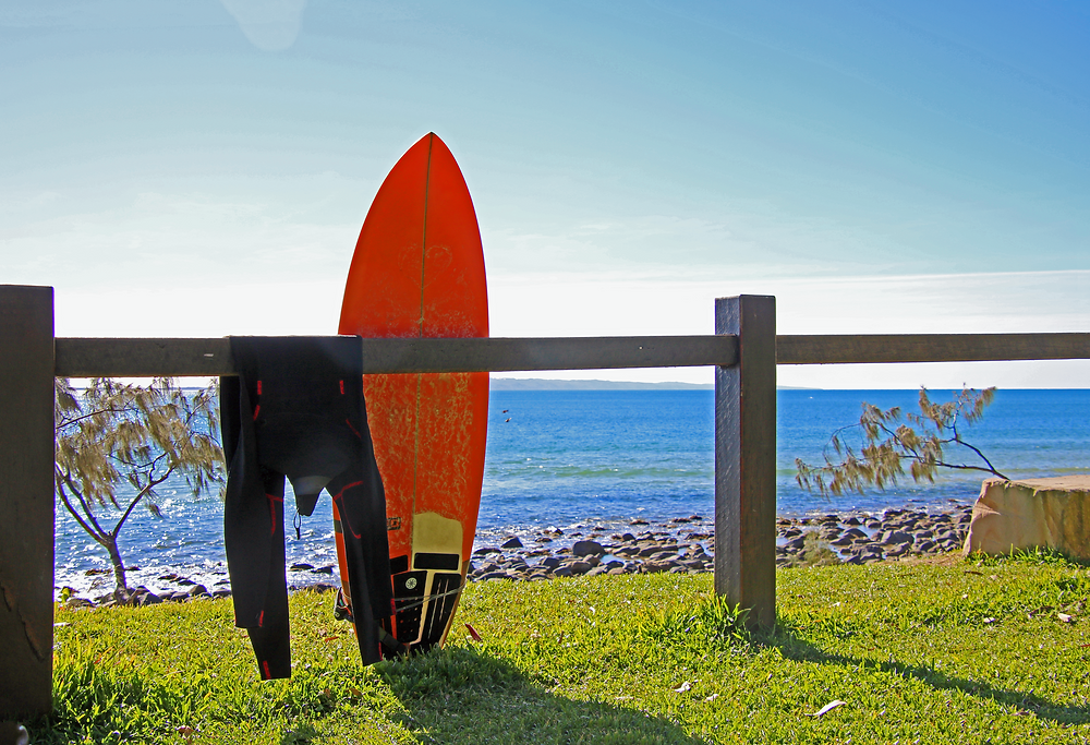 Surfboard and wetsuit at Sunshine Coast Australia