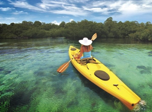 Woman in white hat kayaking with Key West Eco Tours.