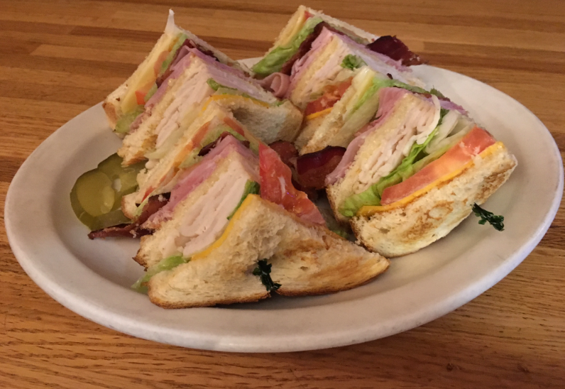 Club sandwich at Tiger Bar in June Lake, California.