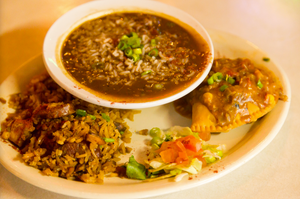 Jambalaya and rice at Evangeline Cafe in Austin.