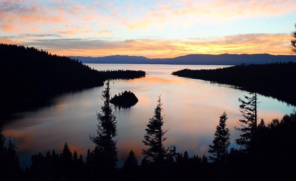 Emerald Bay scuba dive site in Lake Tahoe at sunrise