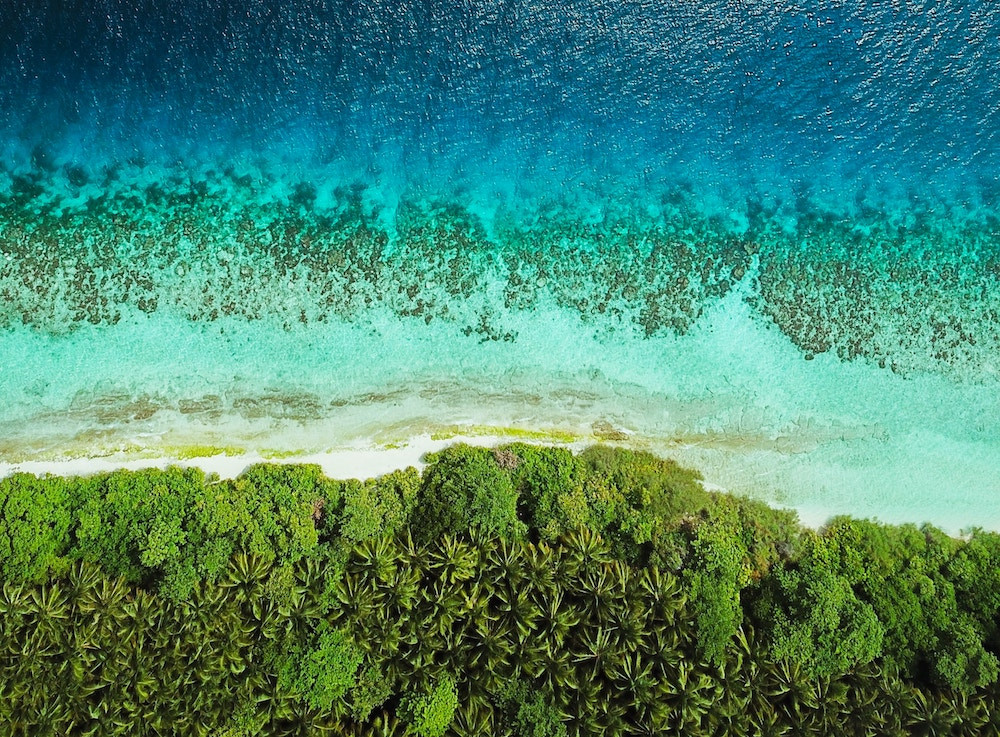 Aerial view of popular tropical tourist destination