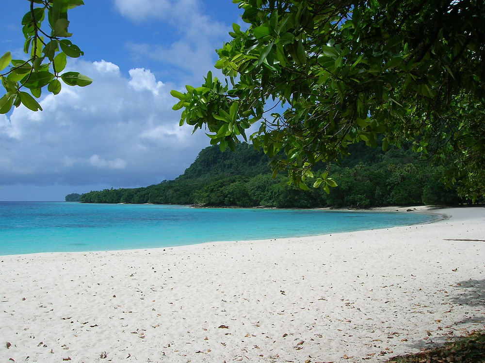 Pristines, deserted cove in Espiritu Santo, Vanuatu flanked by trees and a hillside that dissolves into the sea.