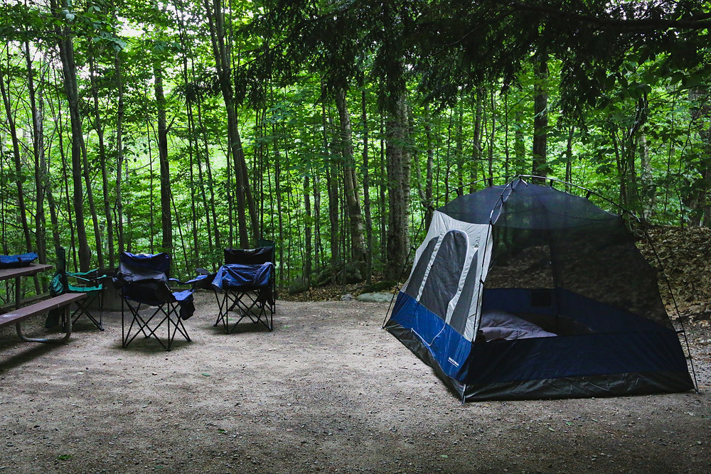 A blue tent and two blue camp chairs in a campsite in the woods.