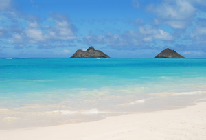 View of two small islands from Lanikai Beach, Oahu.