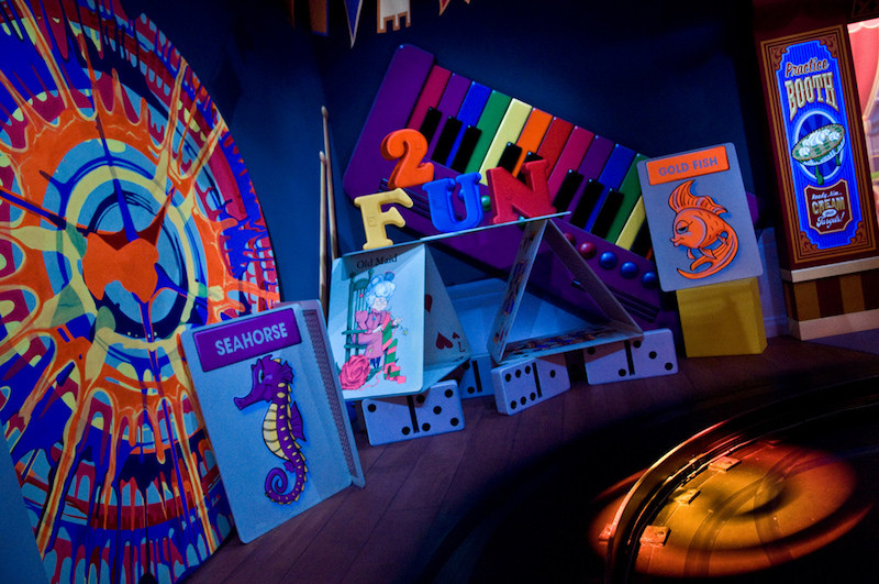 Colorful interior of Toy Story Midway Mania at Disney