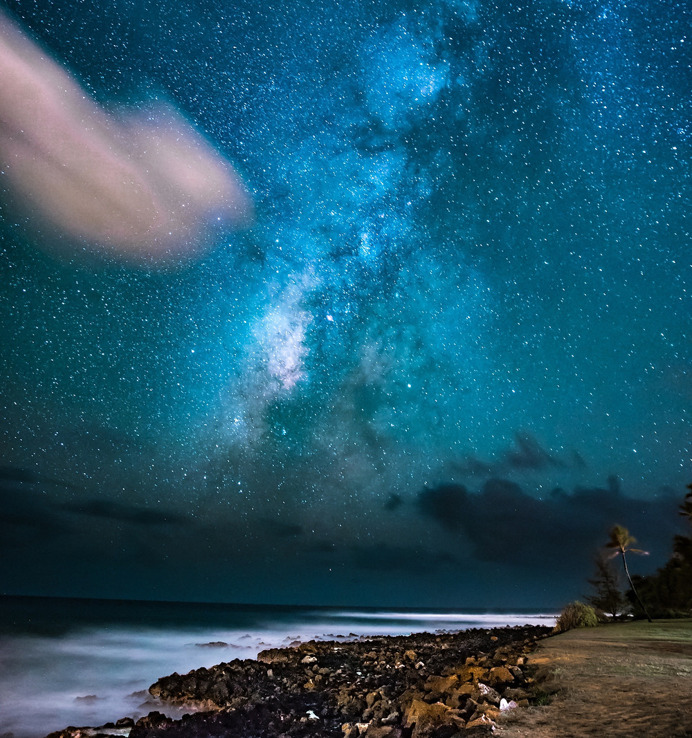 Stars and constellations from Poipu Beach Park, Kauai.