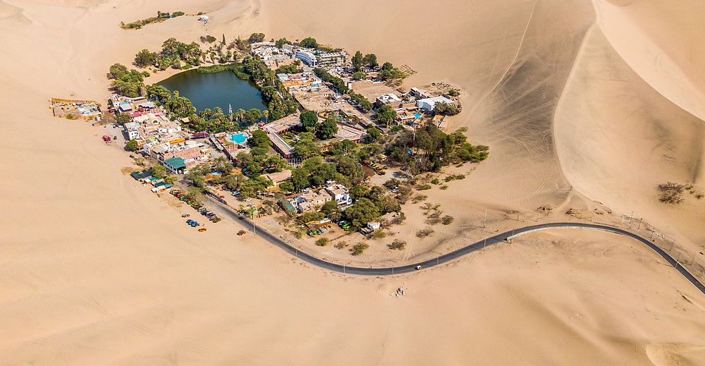 Aerial view of Peru's desert oasis town of Huacachina.