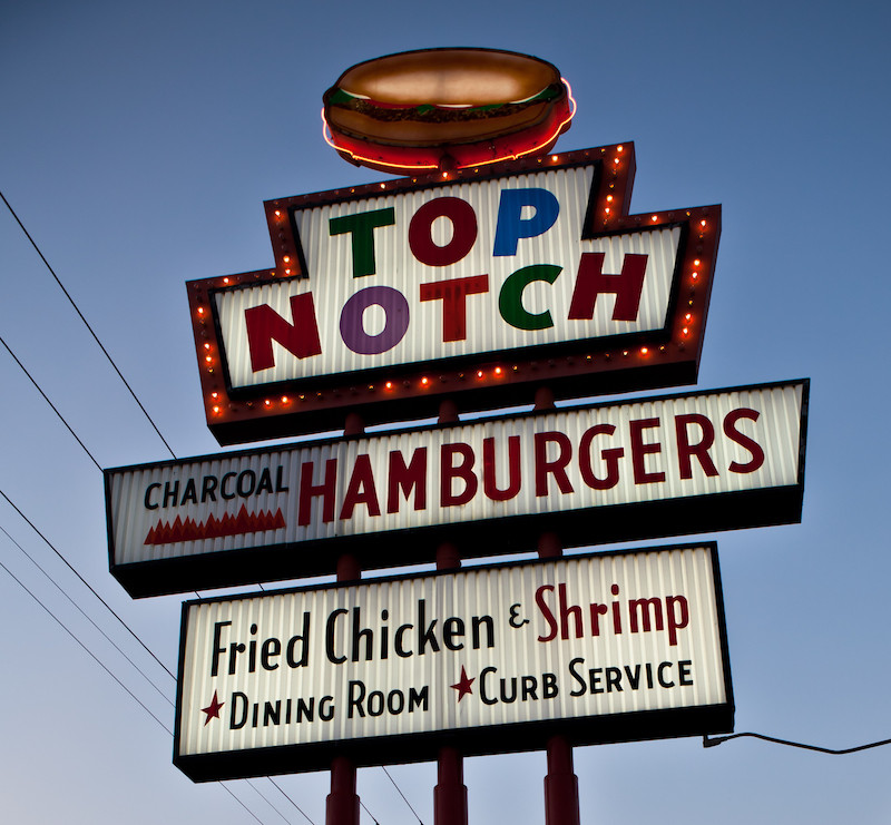 Top Notch Hamburgers sign in Austin.