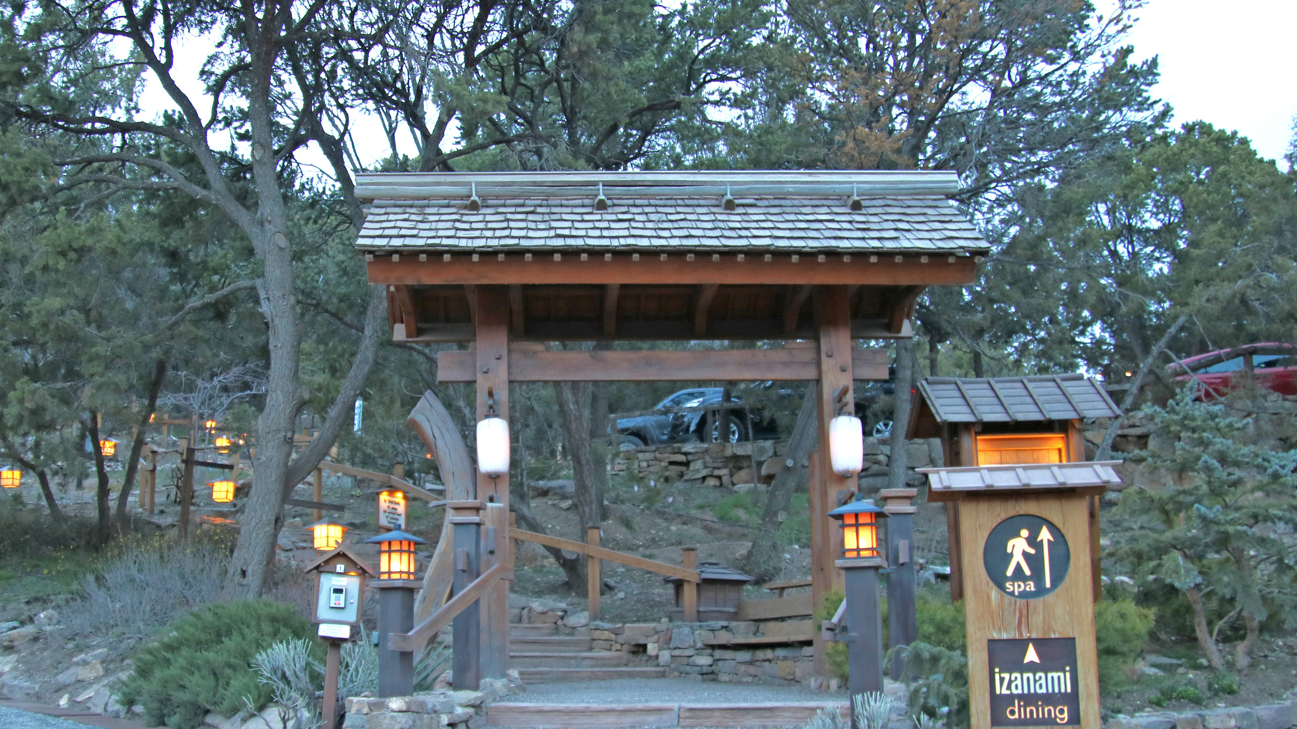 Japanese inspired entrance to the stairs at Ten Thousand Waves