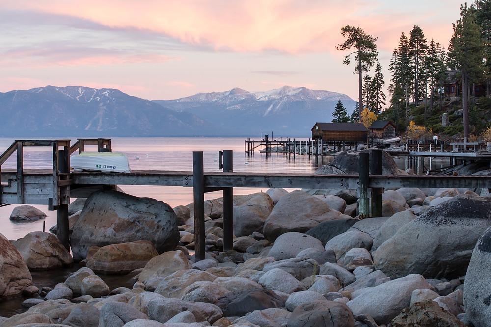 Meeks Bay diving spot at Lake Tahoe at sunset