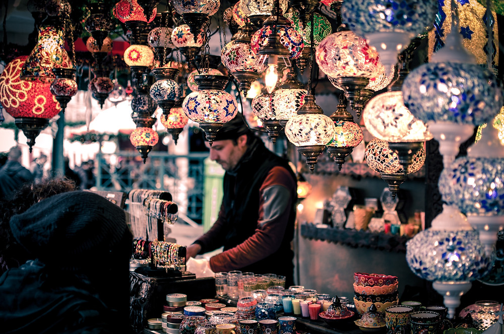 Colorful, locally made glass lanterns in an exotic market