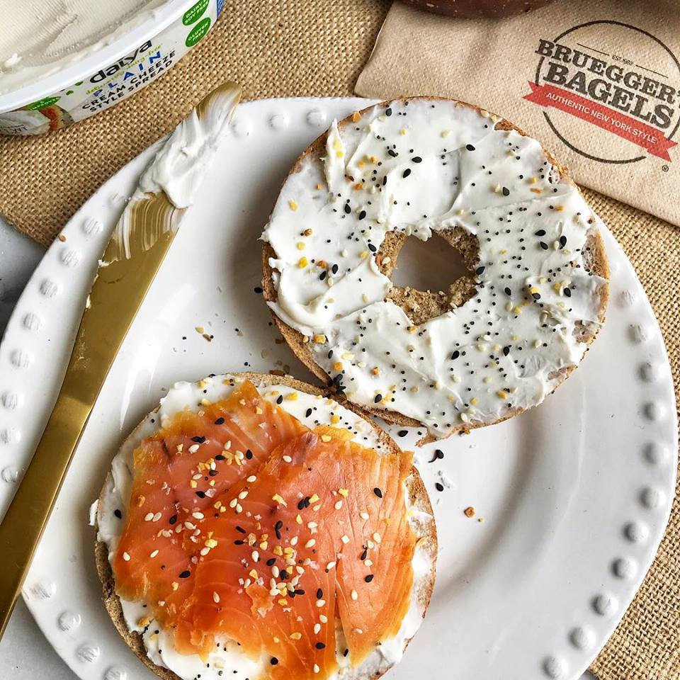Bagel and lox at Bruegger's Bagels in Boston