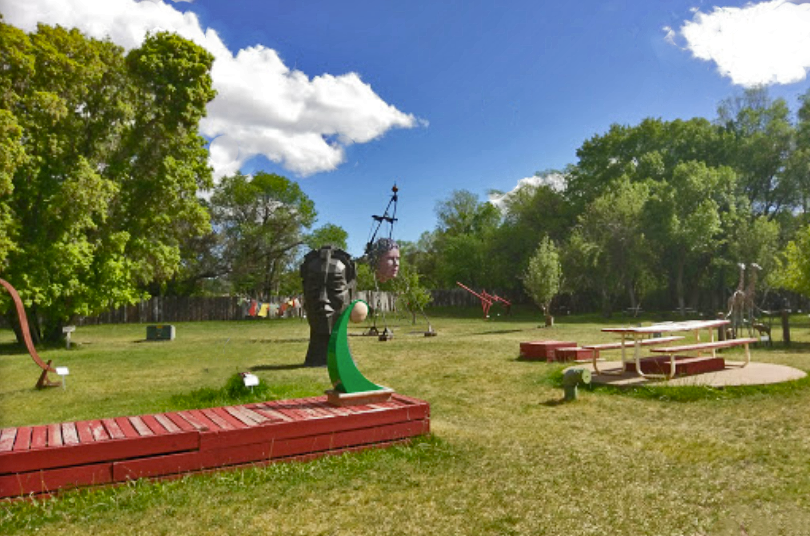 Various colorful sculptures and art installations at Shidoni Gallery and Sculpture Garden