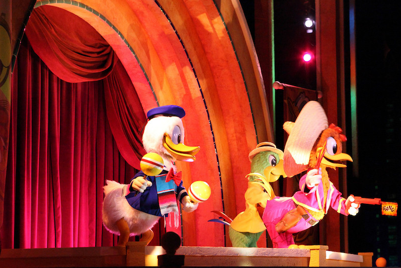 Donald Duck, Panchito and José Carioca in Gran Fiesta Tour in Epcot Center