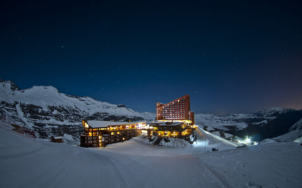 Lodge at the Valle Nevado ski resort at night.