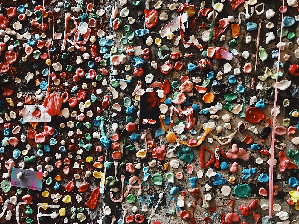 Multi-colored gum wall at Pike Place Market spotted during a Seattle by Foot Kids' Tour.