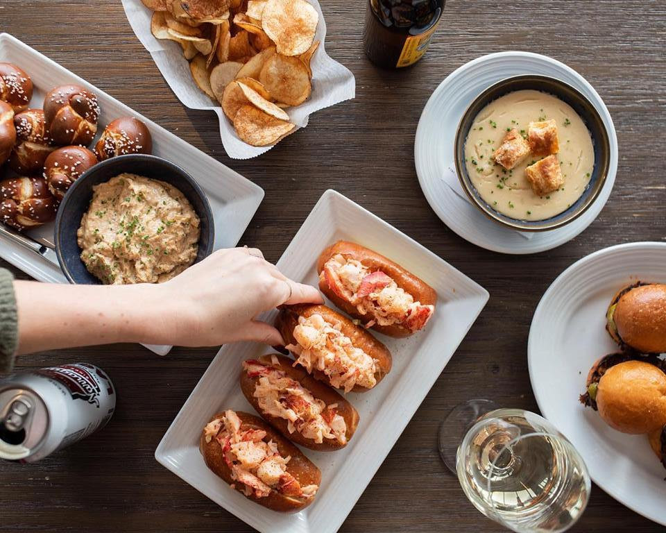 Lobster rolls and other seafood dishes at Island Creek Oyster Bar in Boston