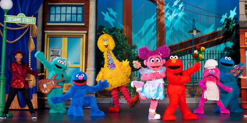Characters from Sesame Street Live on stage