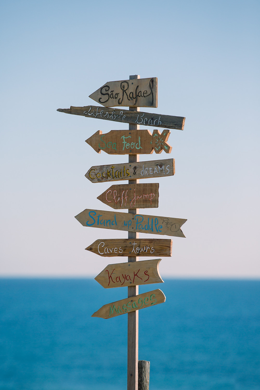 Post on beach with different travel signs, representing activities for a trip