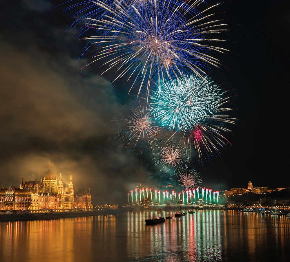 Multi-colored fireworks above a port and European city during a luxury birthday vacation.