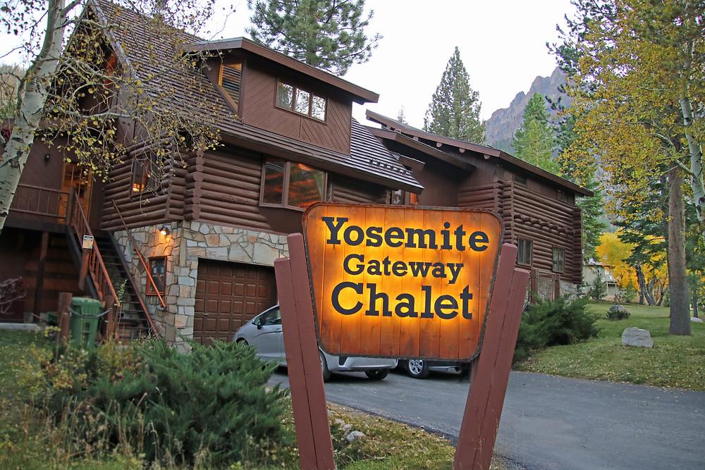 Exterior of the large log cabin, Yosemite Gateway Chalet, in June Lake, Ca.