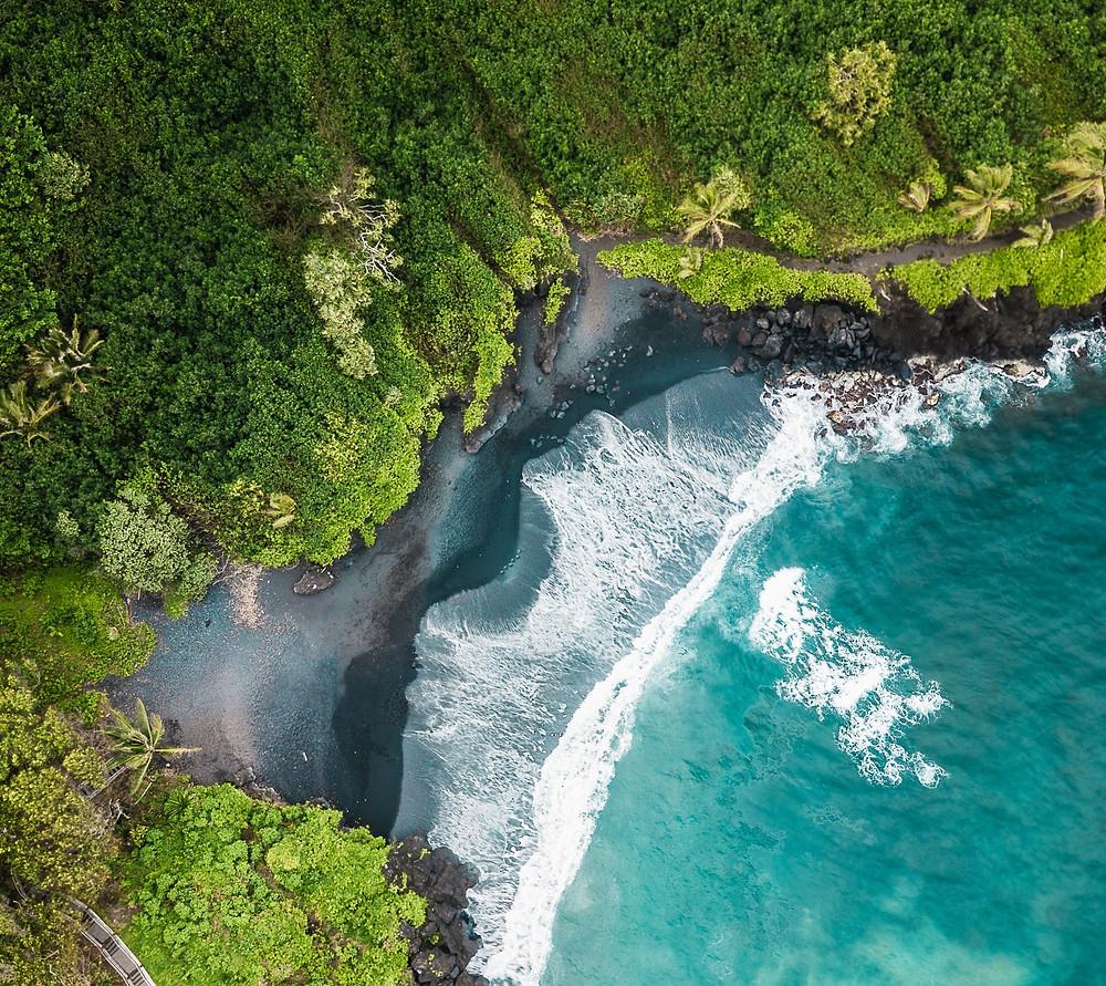 Bird's eye drone view of the black sand and lush foliage of Honokalani Beach, Maui.