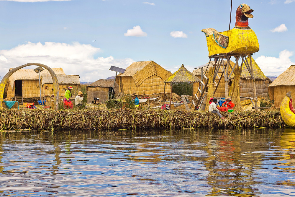 A floating reed island in the Uros Islands, also called the Floating Reed Islands of Peru, that is in Lake Titicaca.
