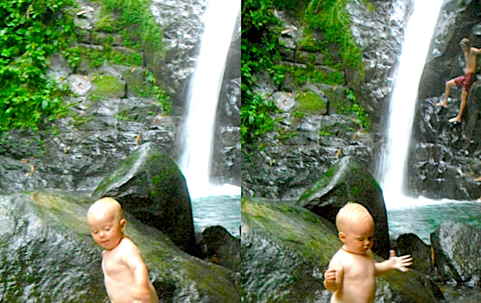 Toddler at Nauyaca Waterfalls in Costa Rica