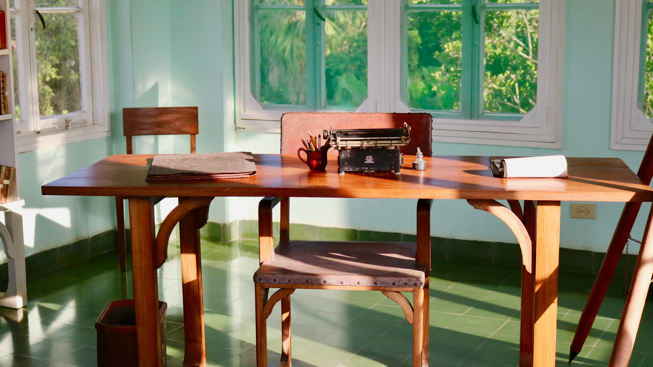 Ernest Hemingway's writing desk and typewriter in lookout tower at Finca Vigia outside of Havana, Cuba.