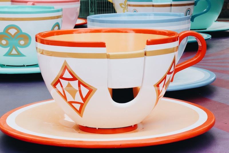 Orange teacup at Mad Tea Party ride at Disney World