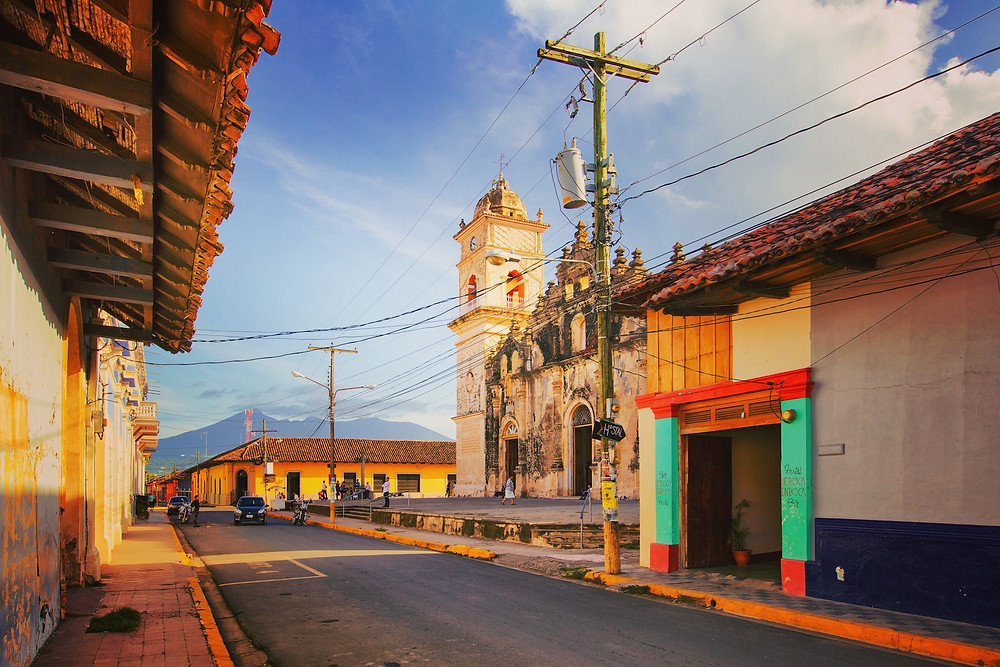 Colorful street and chapel in a town in Nicaragua